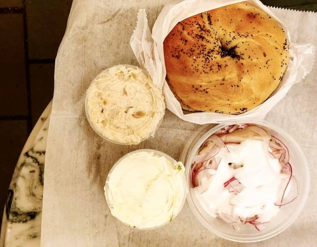 Ess-a-bagel in New York City cream cheese lox and bagels herring with cream