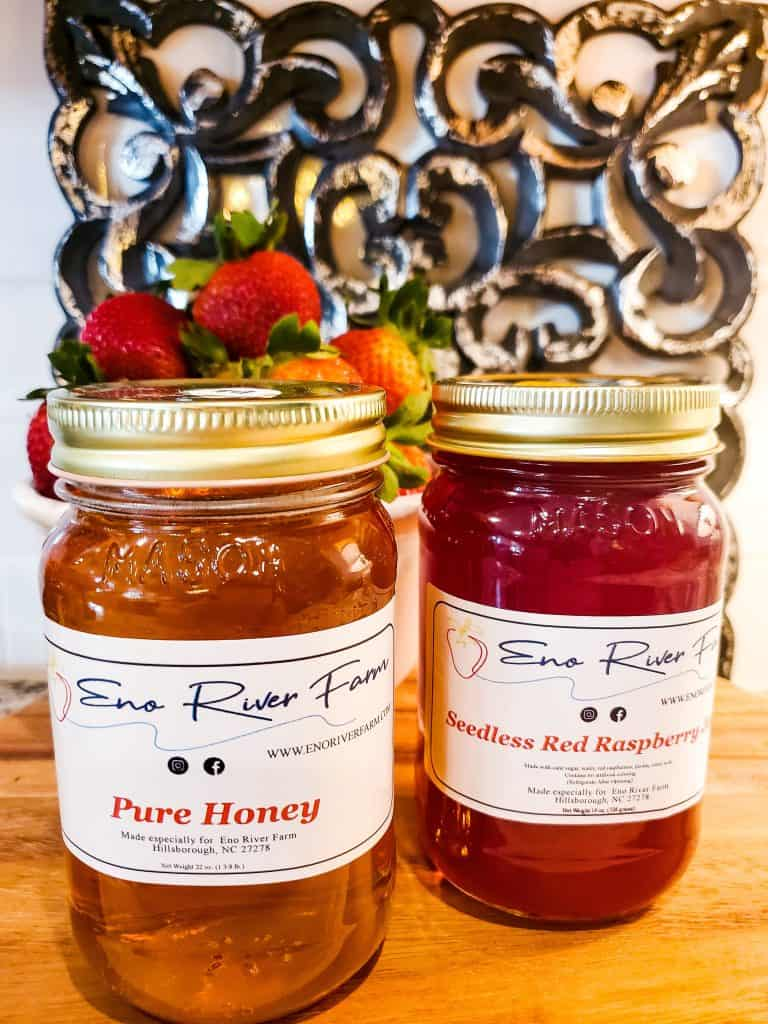 Pure Honey and Seedlesss Red Raspberry Jam Eno River Farm |Me and My Traveling Hat | Free Content on Our Blog